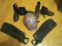Riding Helmet, Boots and Half Chaps