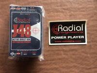 Radial J48 DI Box, military grade build quality, very low noise. Massive signal headroom