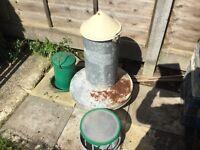 Galvanised large chicken feeder and 2 medium feeders.