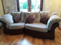 Matching 3 & 2 seated sofa with large footstool - brown and beige