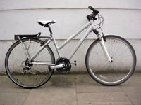 Ladies Hybrid/ Commuter Bike by B-Twin, White & Grey, Light Ali Frame, JUST SERVICED/ CHEAP PRICE!!