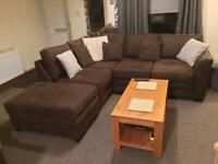 DFS Corner Sofa & Footstool Brown