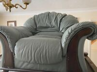 3 seater sofa, 2 seater sofa & chair green leather