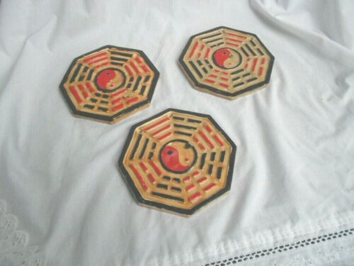 HAND PAINTED I CHING PLAQUE GOOD LUCK + FENG SHUI BAGUA TRIGRAMS 4 DOOR # 5605