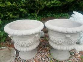 Pair of Concrete Swag and Tail Flower Pots