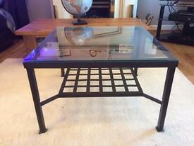 Glass and metal coffee table (Ikea LÖTTORP)