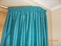 Teal fully lined curtains - immaculate condition - must go!