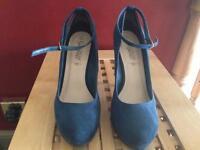Teal suede heels size 8