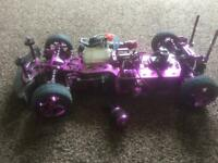 Hpi rs4 upgraded nitro rc car rolling chassis