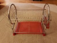 Red two tier dish rack