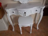 WHITE DRESSING TABLE, STOOL & LARGE WALL MIRROR FRENCH ROCOCO STYLE SET