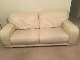 Cream leather 2 and 3 seater sofa