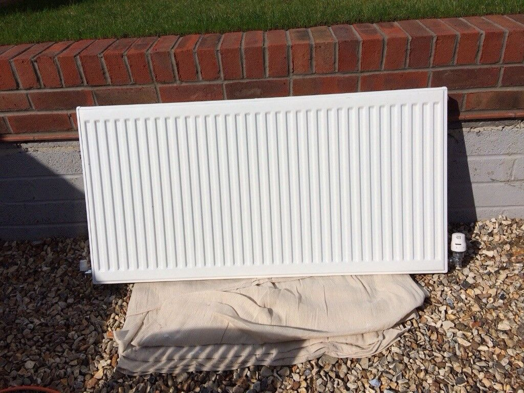 White double thermostat controlled radiator