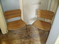 PAIR OF S/STEEL & WOOD CHAIRS,SUITABLE FOR INDOOR OR OUTDOOR USE