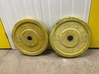2 x 15kg yellow bumper plates