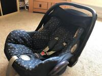 Maxi Cosi Cabriofix Car Seat with Denim Hearts Cover