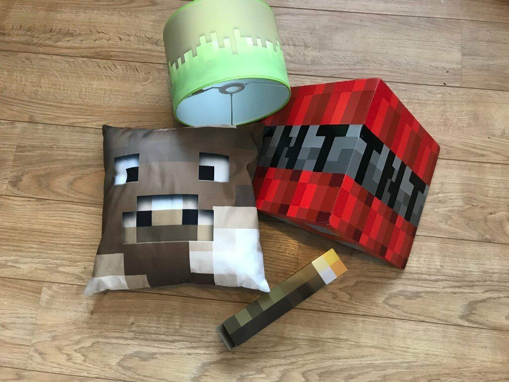 Minecraft bedroom accessories includes torch nightlight lamp shade minecraft bedroom accessories includes torch nightlight lamp shade tnt shelf and cushion aloadofball Gallery