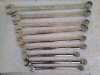 Snap on spanners 10mm to 19mm long reach.