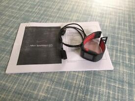 Barely used Nike GPS sportwatch, black and red design, as new with cable and instructions