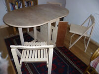 folding dining table with chairs & storage