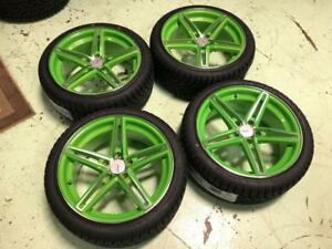 "18"" Lime Green Wheels 5x112 and Winter Tire Package 225/40R18 (VOLKSWAGEN, MERCEDES) Calgary Alberta Preview"
