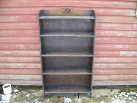 very old antique oak open bookcase, bookshelf, small antique vintage solid oak bookcase / shelves