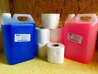 Caravan toilet chemical pink/blue 2x5 litre +6 rolls easy flush toilet tissue (thetford porta potti)