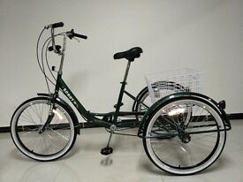 "Adults tricycle, folding frame, 24"" wheels, 6-speed shimano gears, from BuyTricycle, SCOUT"