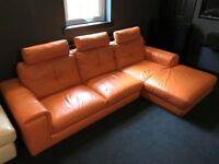 Orange Leather L-shaped Sofa