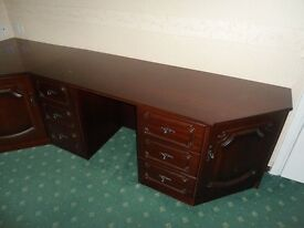 Mahogany dresser/desk with drawers and cupboard storage excellent condition