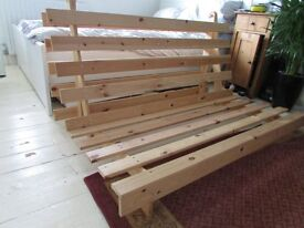 Futon Frame, No mattress, Folds out to double bed