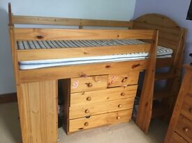 Solid wood Cabin bed with drawers and bookshelf