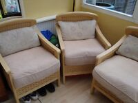 CANE/WICKER 3 PIECE SUITE