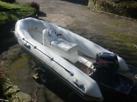 Valiant 340 Rib Boat with Tohatsu 18HP 2 Stroke Outboard Engine and Trailer in Excellent Condition