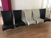 5 Black & Cream Dinning Room Chairs