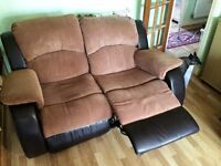 2 Seater Brown Fabric/ Black Leather Recliner Sofa