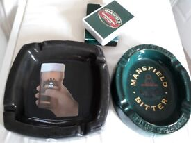 Mansfield brewery ashtrays and sealed playing cards