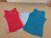 3 ladies gym/keepfit vests size small excellent condition (2 Adidas and 1 LA Gear)