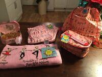 Pink Ballet Set, Terrell Katz pjs size 3-5 or 5-7, kit bag, Lunch Bag, towel