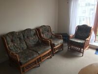 2 seater + 2 single chair cane furniture set