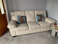 (URGENT MUST GO!) 3 seater leather cream sofa for sale