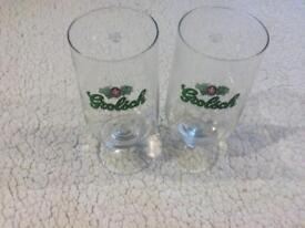 Pair of Grolsch 25cl beer glasses continental style vintage