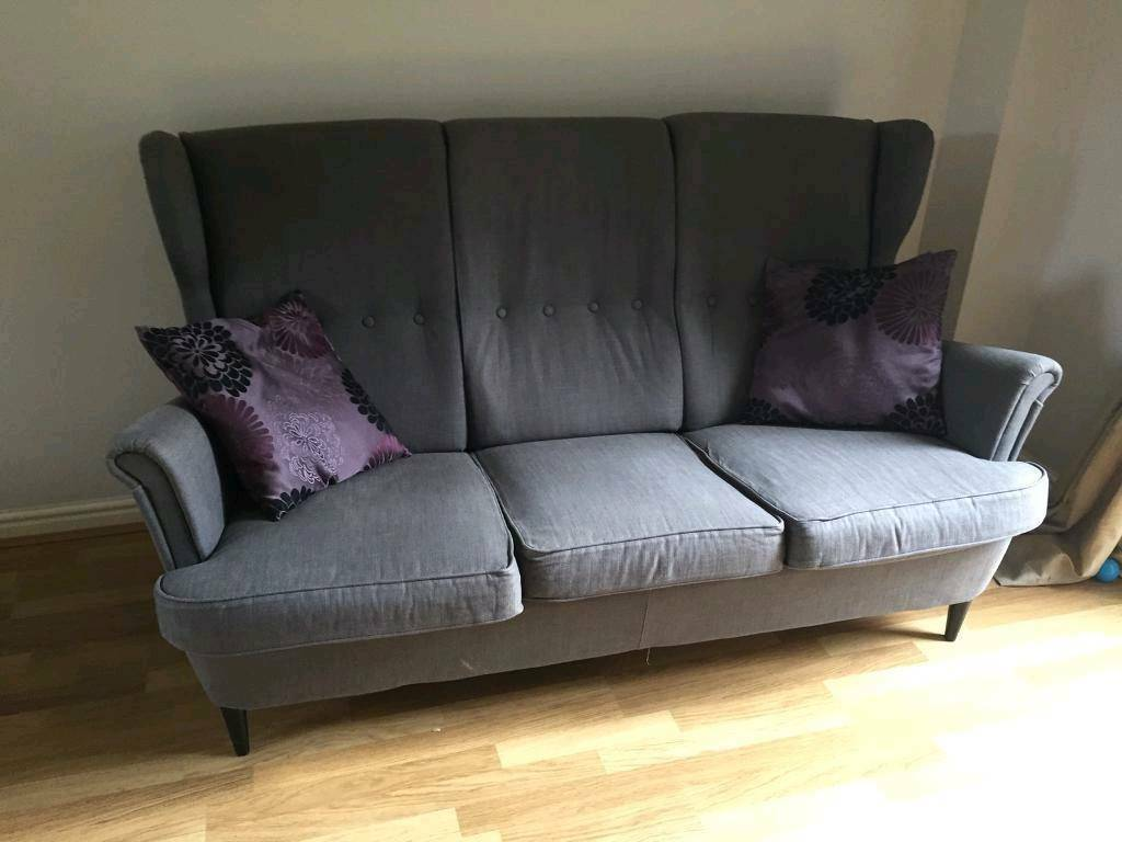 Ikea Strandmon Grey Wing 3 Seater Sofa In Bletchley