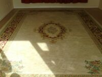 cream and patterned wool rug
