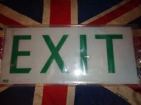 Vintage PEX Exit Sign Light Box Insert Plastic White & Green