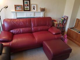 Three Seater Leather sofa plus a Foot stool in mint condition