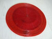 Round Beaded Red Table Mat / Place Mat