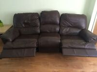Leather 3 +2 seater recliner sofas