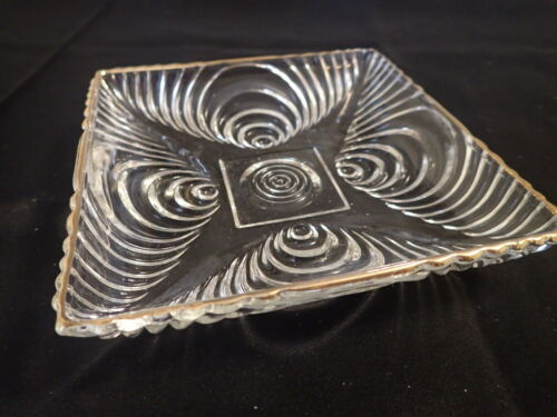 """Vintage Square Glass Dish Charger with Swirl Pattern & Gold Rim 6 1/8"""" LM28"""