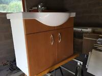 Villeroy and Boch vanity sink unit, taps, pop up waste and twin door cupboard.